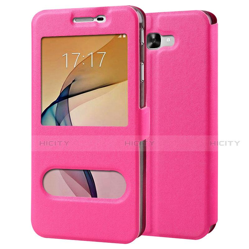 Handyhülle Hülle Stand Tasche Leder für Samsung Galaxy J7 Prime Pink Plus