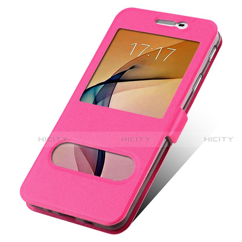 Handyhülle Hülle Stand Tasche Leder für Samsung Galaxy J7 Prime Pink groß