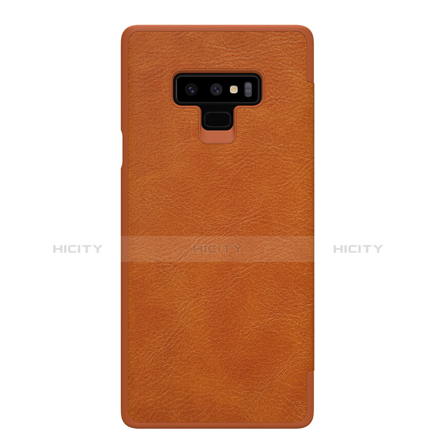 Handyhülle Hülle Stand Tasche Leder für Samsung Galaxy Note 9 Braun groß