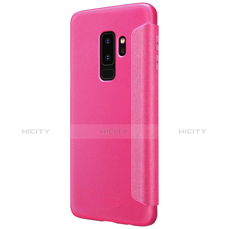 Handyhülle Hülle Stand Tasche Leder für Samsung Galaxy S9 Plus Pink groß