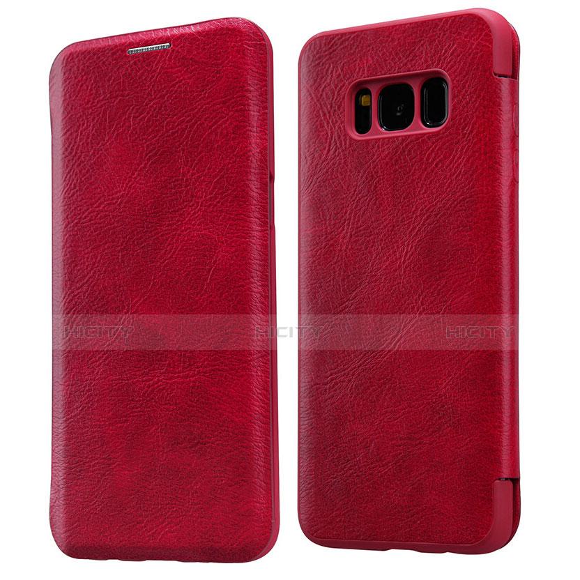 Handyhülle Hülle Stand Tasche Leder L01 für Samsung Galaxy S8 Rot Plus