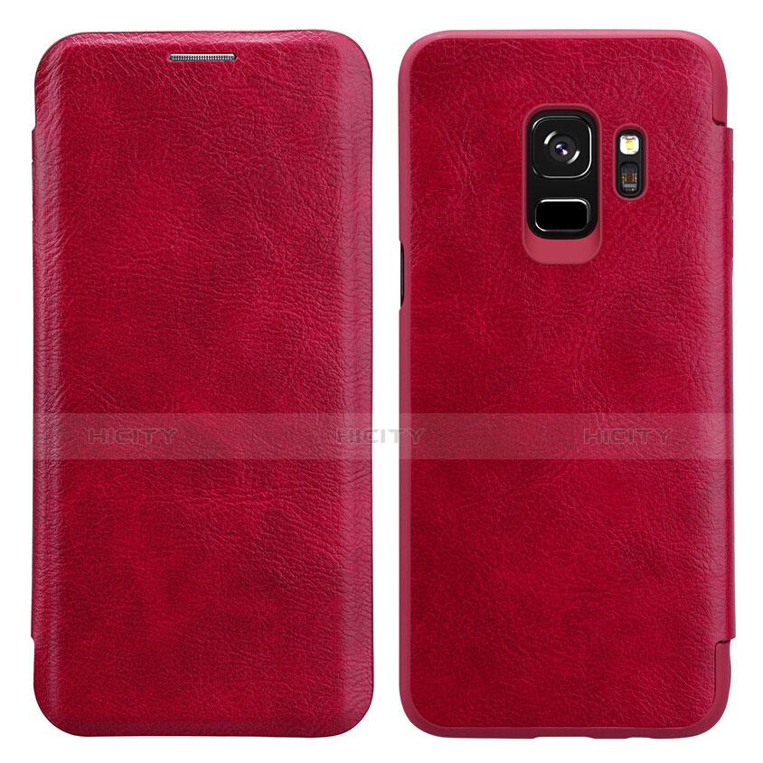 Handyhülle Hülle Stand Tasche Leder L01 für Samsung Galaxy S9 Rot Plus