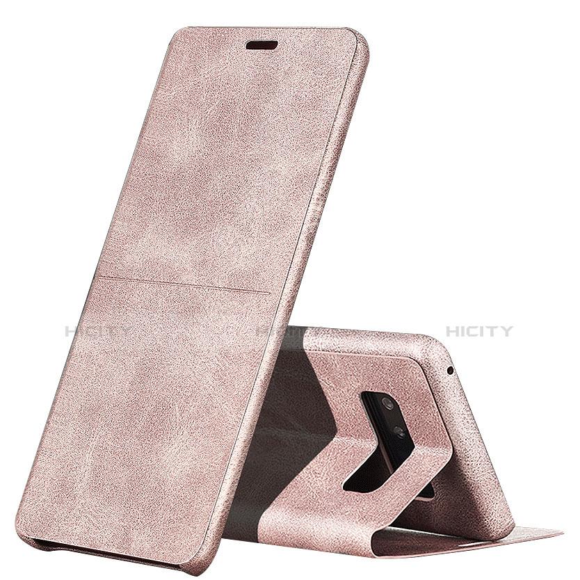 Handyhülle Hülle Stand Tasche Leder L04 für Samsung Galaxy Note 8 Duos N950F Rosa Plus