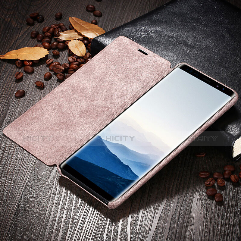 Handyhülle Hülle Stand Tasche Leder L04 für Samsung Galaxy Note 8 Duos N950F Rosa groß
