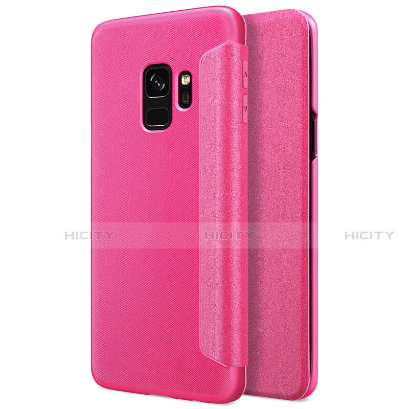 Handyhülle Hülle Stand Tasche Leder S01 für Samsung Galaxy S9 Pink