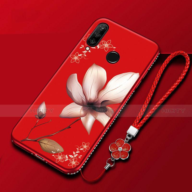 Handyhülle Silikon Hülle Gummi Schutzhülle Blumen für Huawei Honor 20 Lite Rot Plus
