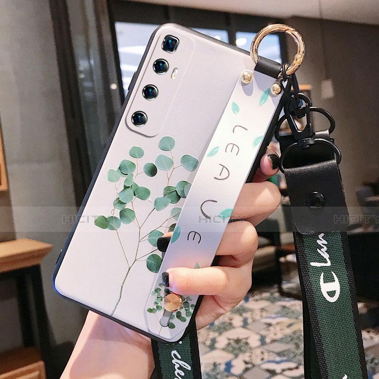 Handyhülle Silikon Hülle Gummi Schutzhülle Flexible Blumen für Xiaomi Mi 10 Ultra Grün Plus