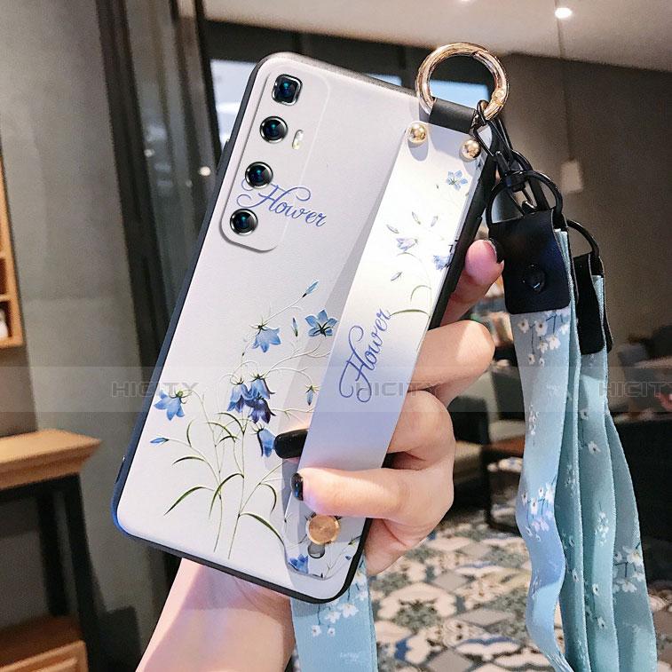 Handyhülle Silikon Hülle Gummi Schutzhülle Flexible Blumen für Xiaomi Mi 10 Ultra Weiß Plus