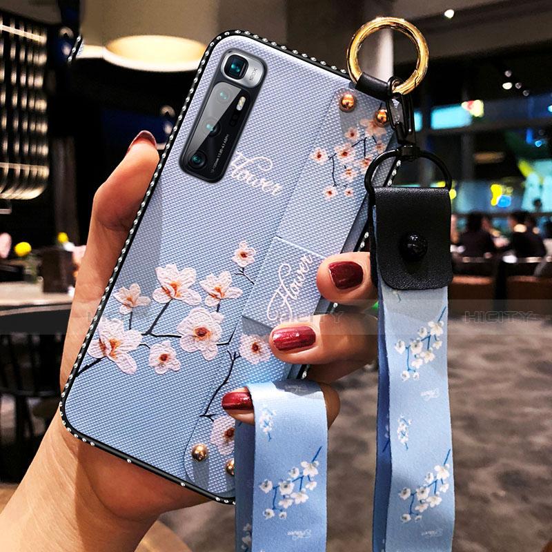 Handyhülle Silikon Hülle Gummi Schutzhülle Flexible Blumen S01 für Xiaomi Mi 10 Ultra Hellblau Plus
