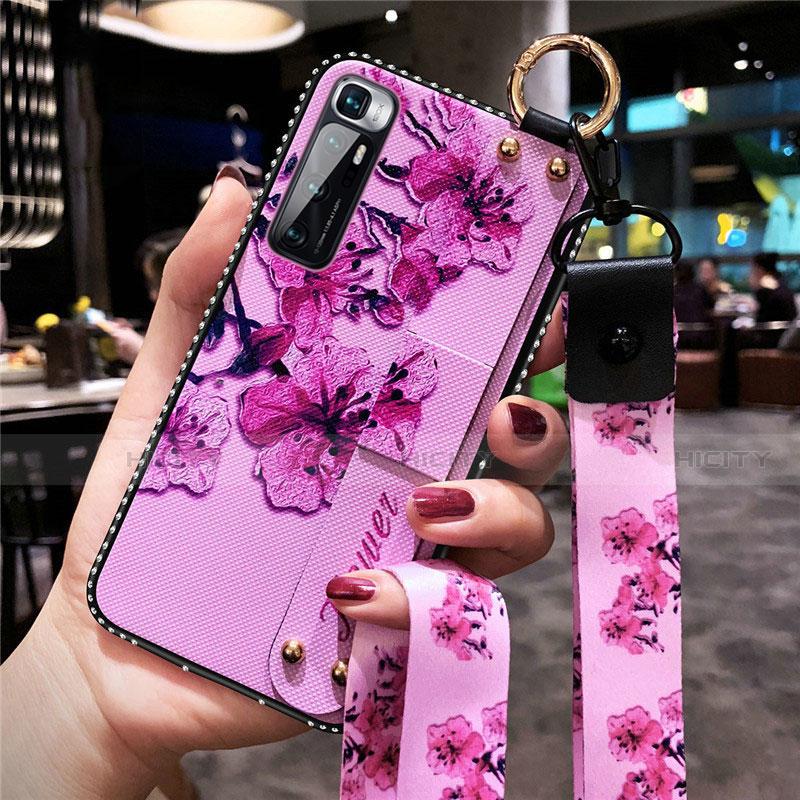 Handyhülle Silikon Hülle Gummi Schutzhülle Flexible Blumen S01 für Xiaomi Mi 10 Ultra Helles Lila Plus
