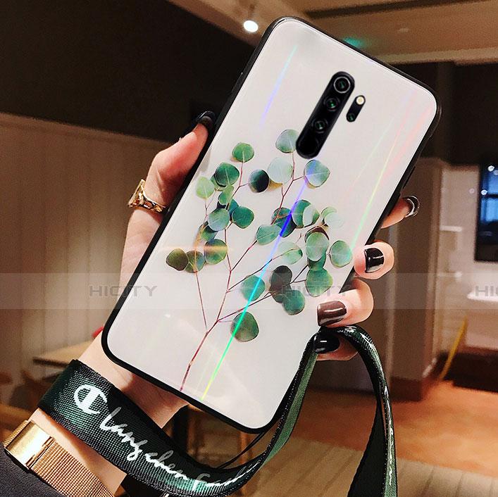 Handyhülle Silikon Hülle Rahmen Schutzhülle Spiegel Blumen für Xiaomi Redmi Note 8 Pro Grün Plus