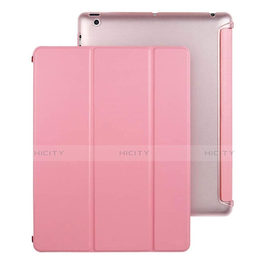 Handytasche Stand Schutzhülle Leder für Apple iPad 4 Rosa Plus