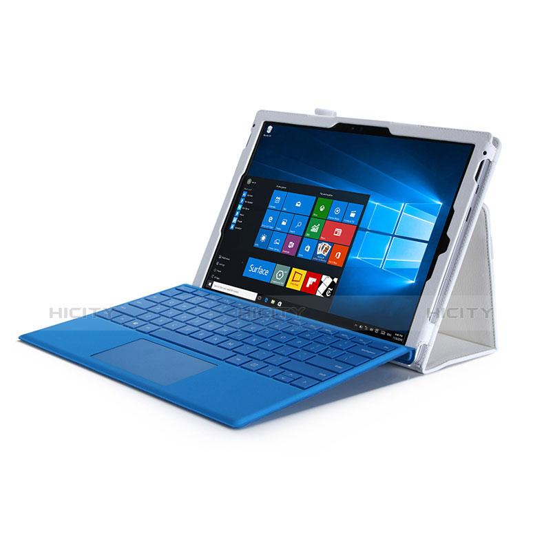 Handytasche Stand Schutzhülle Leder für Microsoft Surface Pro 4 Weiß groß