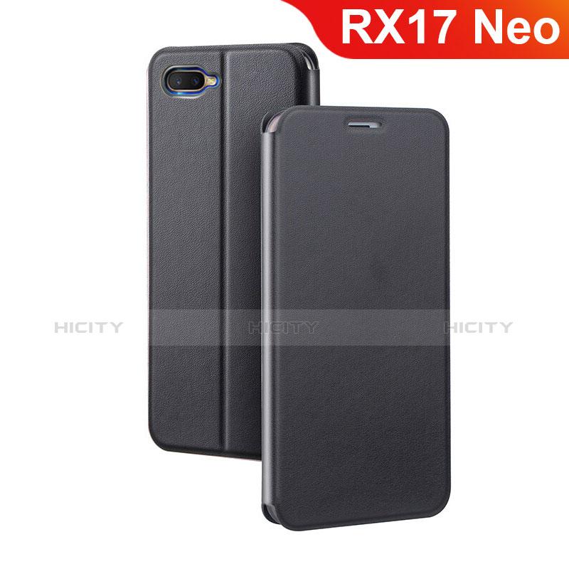 Handytasche Stand Schutzhülle Leder für Oppo RX17 Neo Schwarz Plus
