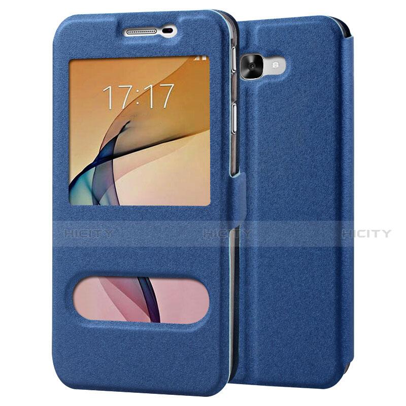 Handytasche Stand Schutzhülle Leder für Samsung Galaxy J7 Prime Blau Plus