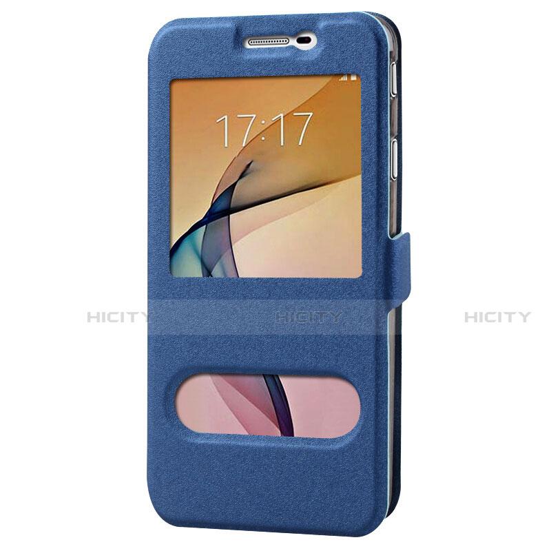 Handytasche Stand Schutzhülle Leder für Samsung Galaxy J7 Prime Blau groß