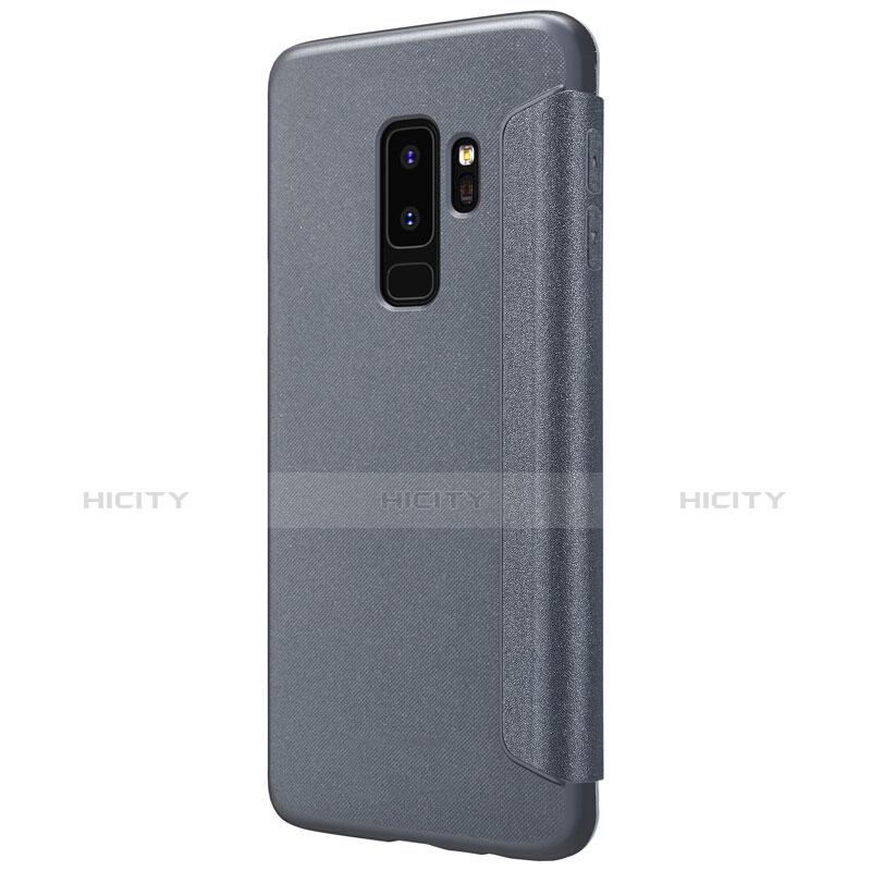 Handytasche Stand Schutzhülle Leder für Samsung Galaxy S9 Plus Schwarz groß