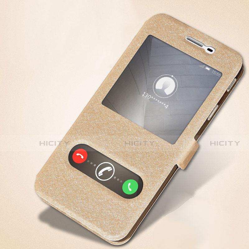 Handytasche Stand Schutzhülle Leder L01 für Samsung Galaxy J7 Prime Gold groß