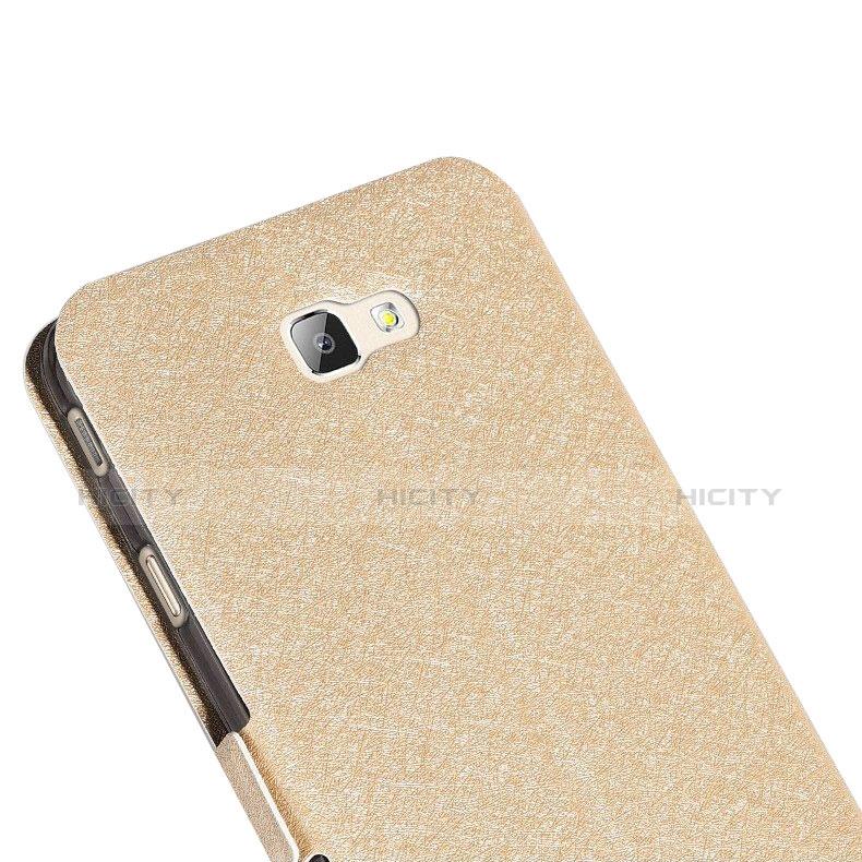Handytasche Stand Schutzhülle Leder L01 für Samsung Galaxy On7 (2016) G6100 Gold groß