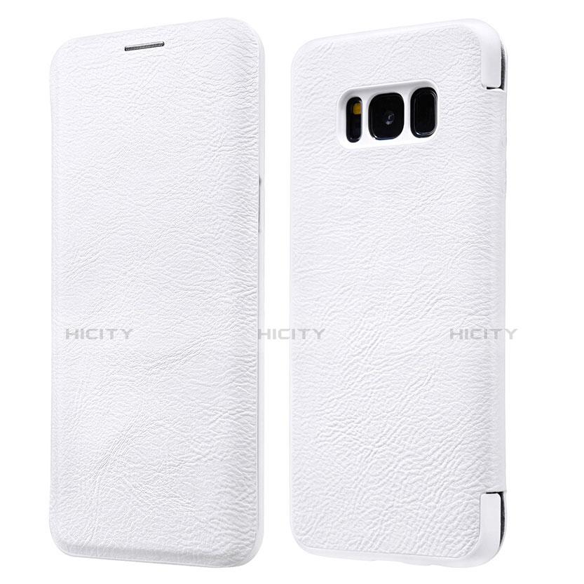 Handytasche Stand Schutzhülle Leder L01 für Samsung Galaxy S8 Plus Weiß Plus