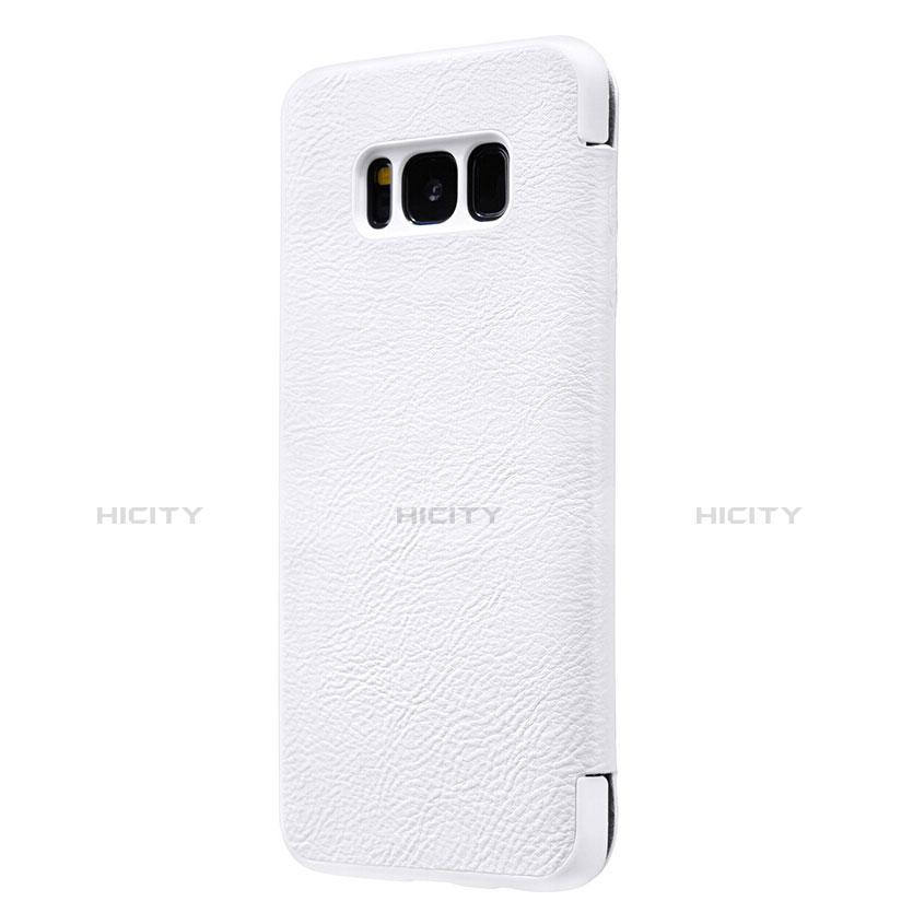 Handytasche Stand Schutzhülle Leder L01 für Samsung Galaxy S8 Plus Weiß groß