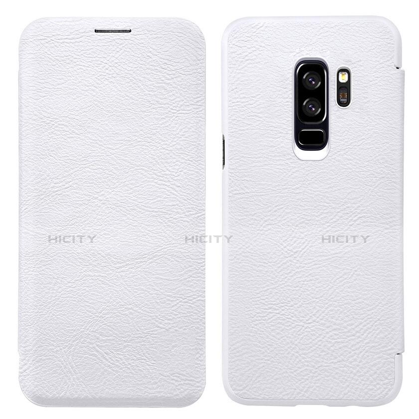 Handytasche Stand Schutzhülle Leder L01 für Samsung Galaxy S9 Plus Weiß Plus