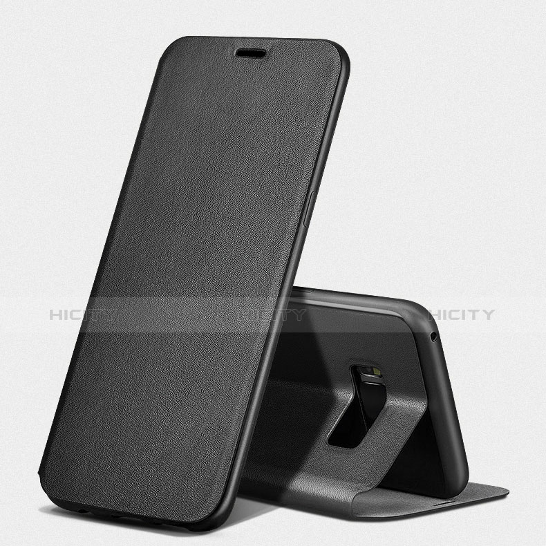 Handytasche Stand Schutzhülle Leder L02 für Samsung Galaxy S8 Plus Schwarz groß