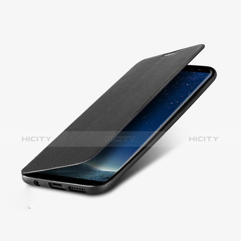 Handytasche Stand Schutzhülle Leder L02 für Samsung Galaxy S8 Schwarz Plus