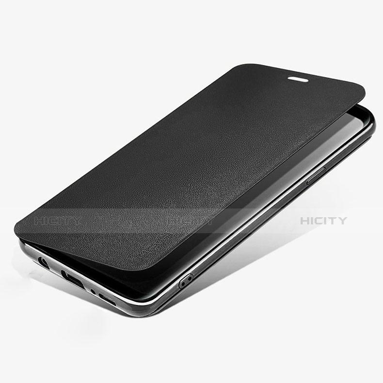 Handytasche Stand Schutzhülle Leder L02 für Samsung Galaxy S9 Schwarz Plus