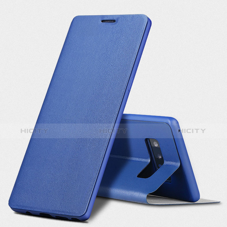 Handytasche Stand Schutzhülle Leder L03 für Samsung Galaxy Note 8 Duos N950F Blau groß