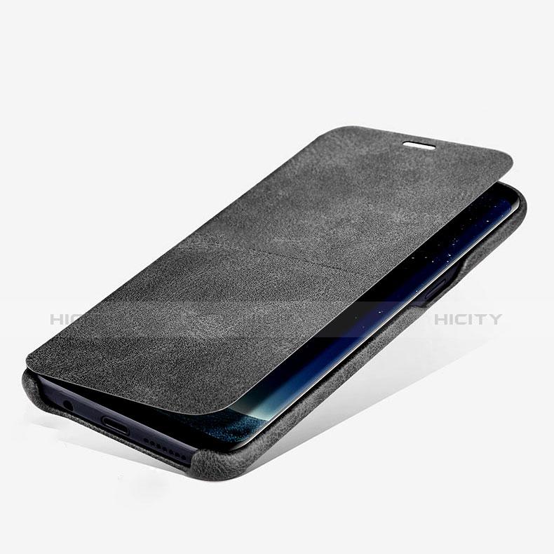 Handytasche Stand Schutzhülle Leder L03 für Samsung Galaxy S8 Plus Schwarz Plus