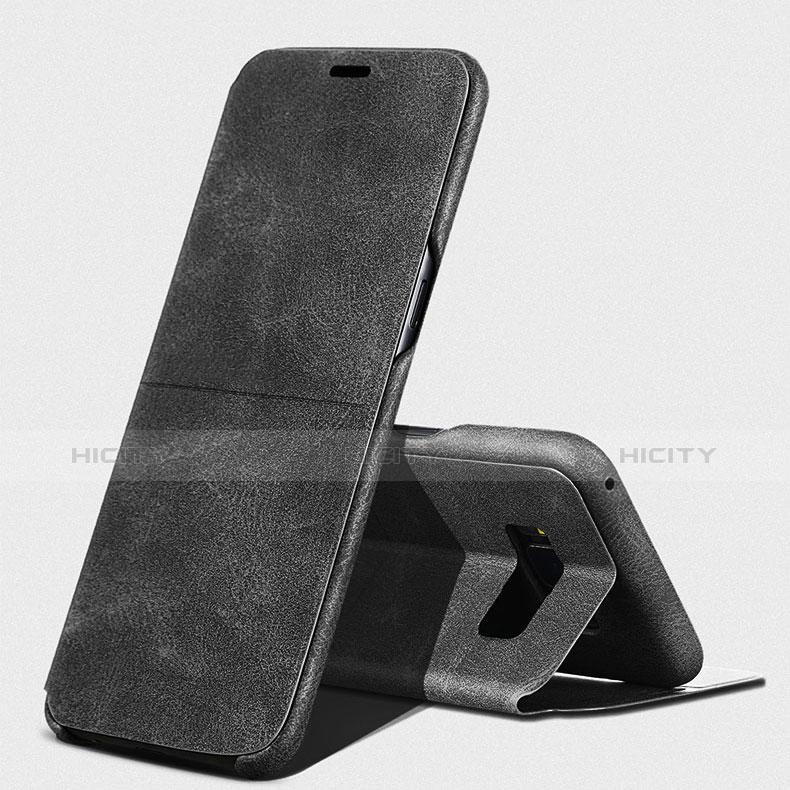 Handytasche Stand Schutzhülle Leder L03 für Samsung Galaxy S8 Plus Schwarz groß
