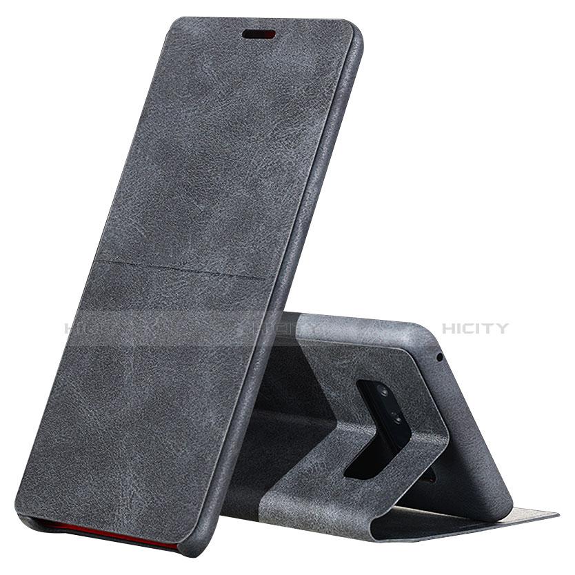 Handytasche Stand Schutzhülle Leder L04 für Samsung Galaxy Note 8 Duos N950F Schwarz
