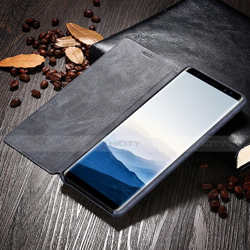 Handytasche Stand Schutzhülle Leder L04 für Samsung Galaxy Note 8 Schwarz groß
