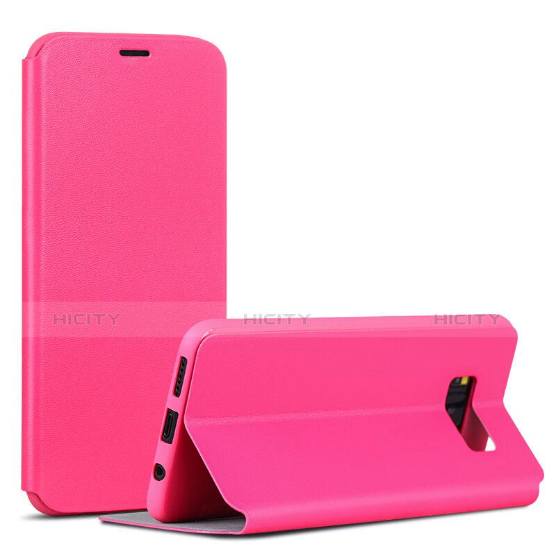 Handytasche Stand Schutzhülle Leder P01 für Samsung Galaxy S8 Pink