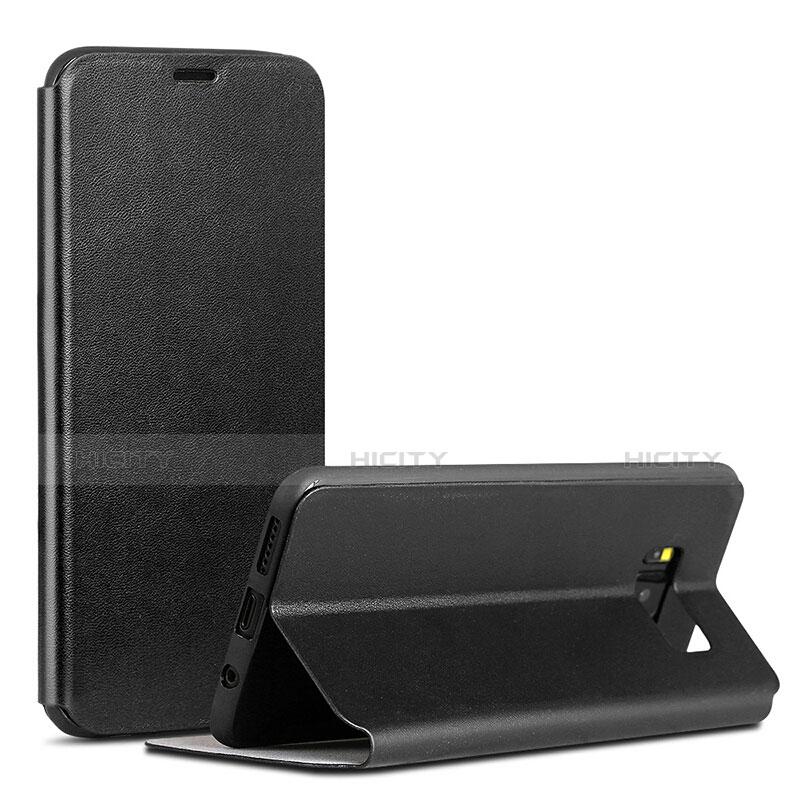 Handytasche Stand Schutzhülle Leder P01 für Samsung Galaxy S8 Schwarz Plus