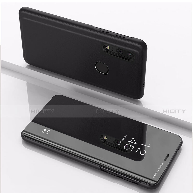 Handytasche Stand Schutzhülle Leder Rahmen Spiegel Tasche für Huawei Honor 20 Lite Schwarz Plus