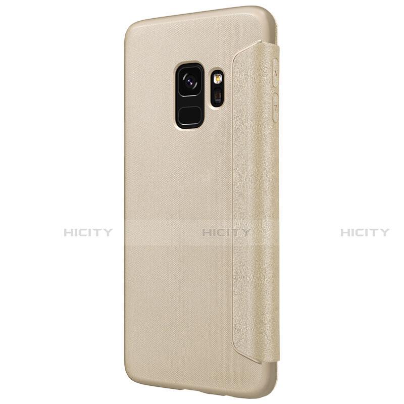 Handytasche Stand Schutzhülle Leder S01 für Samsung Galaxy S9 Gold groß