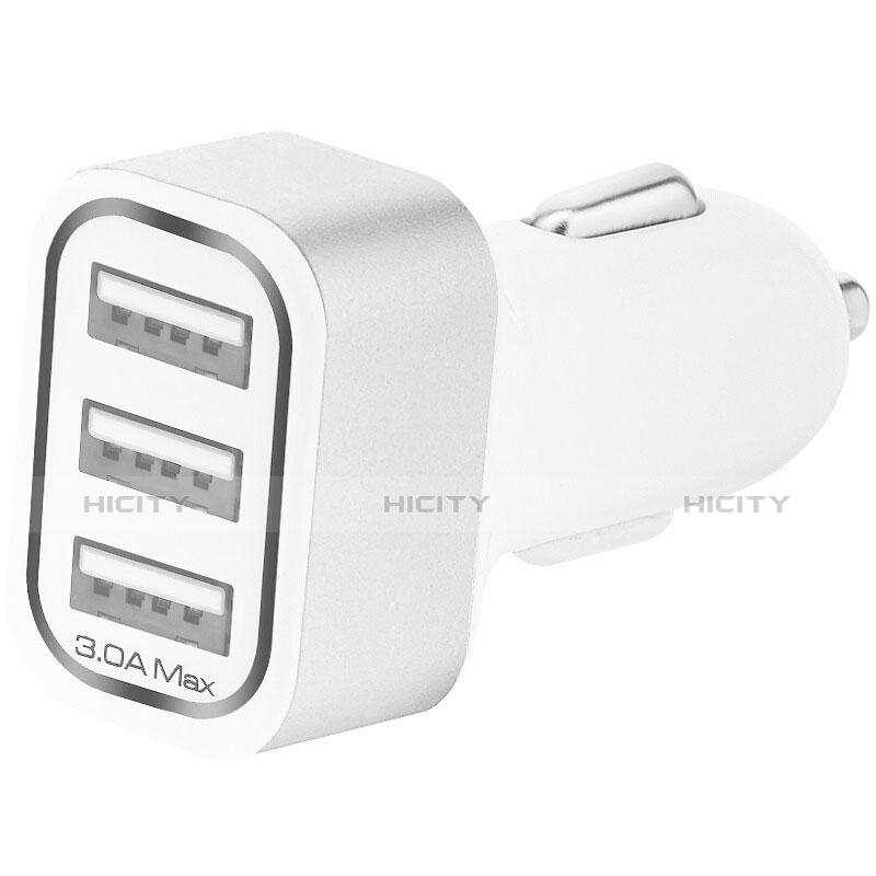 Kfz-Ladegerät Adapter 3.0A 3 USB Zweifach Stecker Fast Charge Universal U07 Silber groß