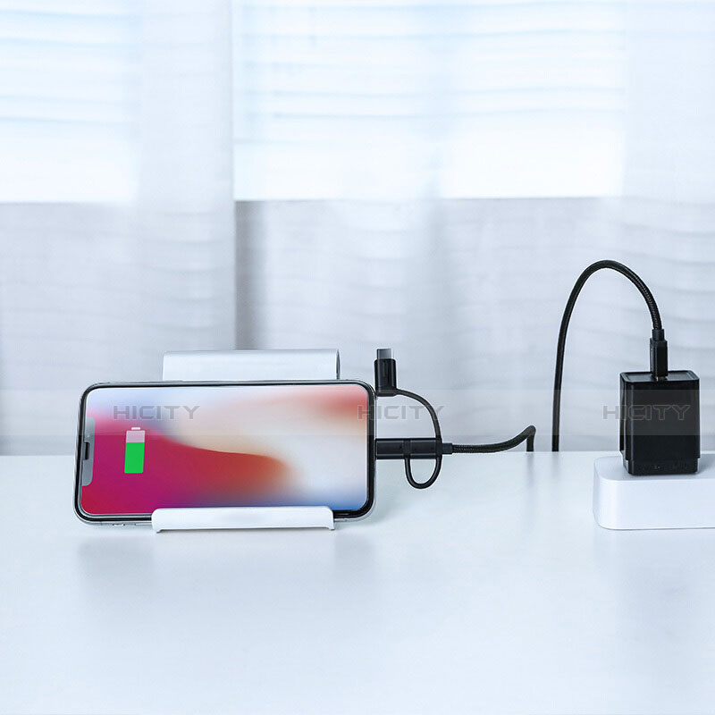 Lightning USB Ladekabel Kabel Android Micro USB C01 für Apple iPhone 11 Pro Schwarz groß