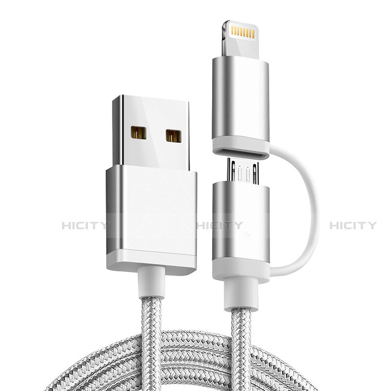 Lightning USB Ladekabel Kabel Android Micro USB C01 für Apple iPhone 11 Pro Silber Plus