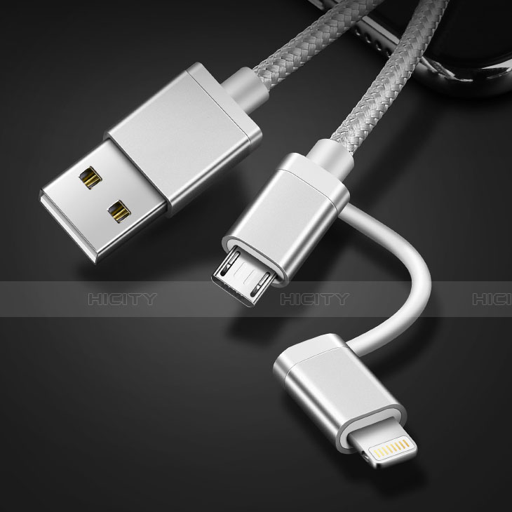 Lightning USB Ladekabel Kabel Android Micro USB C01 für Apple iPhone 11 Pro Silber groß