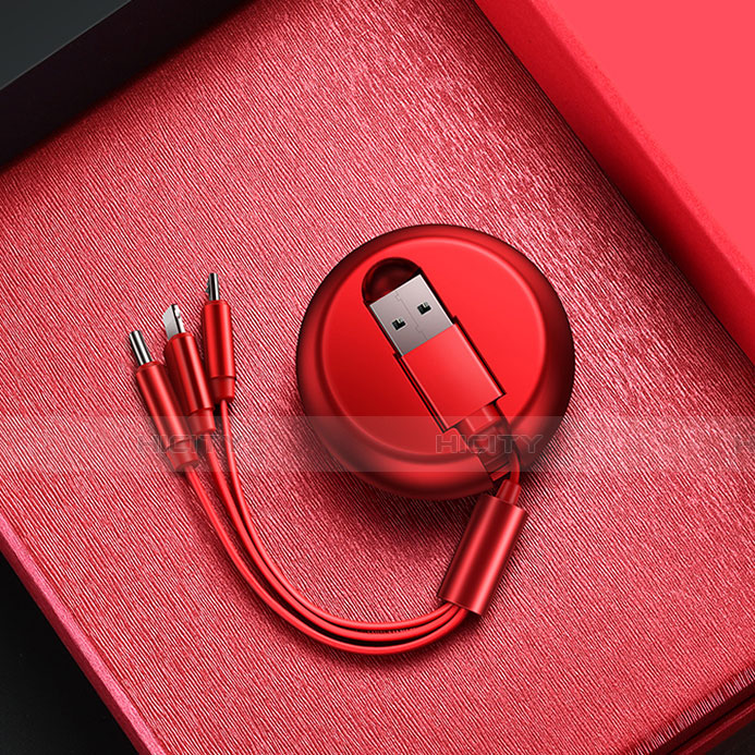 Lightning USB Ladekabel Kabel Android Micro USB C09 für Apple iPhone 11 Pro Rot Plus