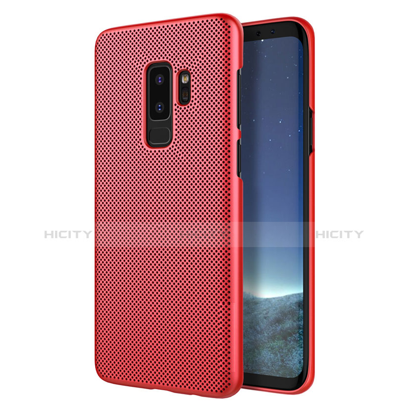 Schutzhülle Kunststoff Hülle Punkte Loch für Samsung Galaxy S9 Plus Rot Plus