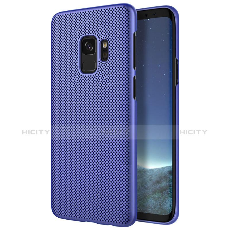 Schutzhülle Kunststoff Tasche Punkte Loch für Samsung Galaxy S9 Blau Plus