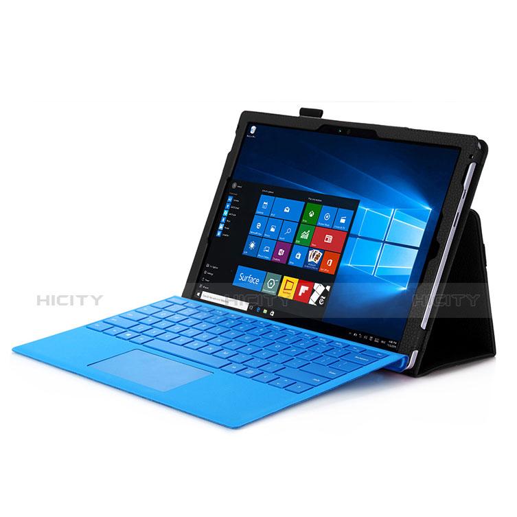 Schutzhülle Stand Tasche Leder für Microsoft Surface Pro 4 Schwarz Plus