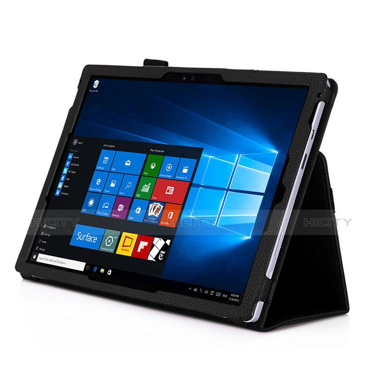 Schutzhülle Stand Tasche Leder für Microsoft Surface Pro 4 Schwarz groß