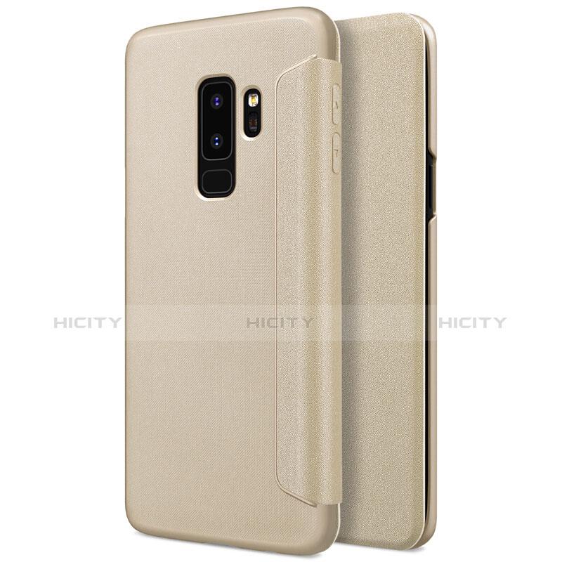 Schutzhülle Stand Tasche Leder für Samsung Galaxy S9 Plus Gold Plus