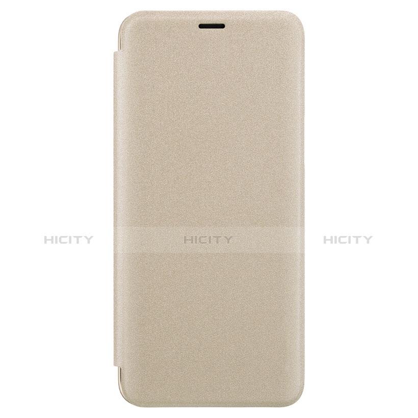 Schutzhülle Stand Tasche Leder für Samsung Galaxy S9 Plus Gold groß