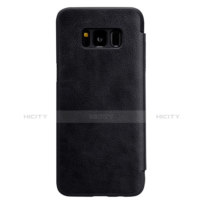 Schutzhülle Stand Tasche Leder L01 für Samsung Galaxy S8 Plus Schwarz groß